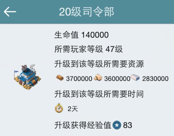 海岛奇兵20级司令部!20本升级所需资源时间数据汇总表