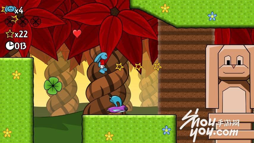 【手游网专稿,转载请注明出处】 《保莉的冒险岛 Paulis Adventure Island》是一款街机游戏,游戏的灵感来源于《超级玛丽》游戏的主角是一只蓝色的兔子,咋一看还挺眼熟的,是不是和这个有点像《蜡笔小新》里面内个任性妮妮的兔子!   故事讲述了保莉和杰米在回家的路上发现家园已经被敌人入侵了,于是他俩要把这些不速之客赶走!  游戏的玩法和冒险岛差不多,可以跳跃,但是人家有特殊技能,就是飞行,路上当然也会有很多坏人,你要做的就是踩死他们或者跳过他们。  如果你以为这是冒险岛的复刻版那你就错了